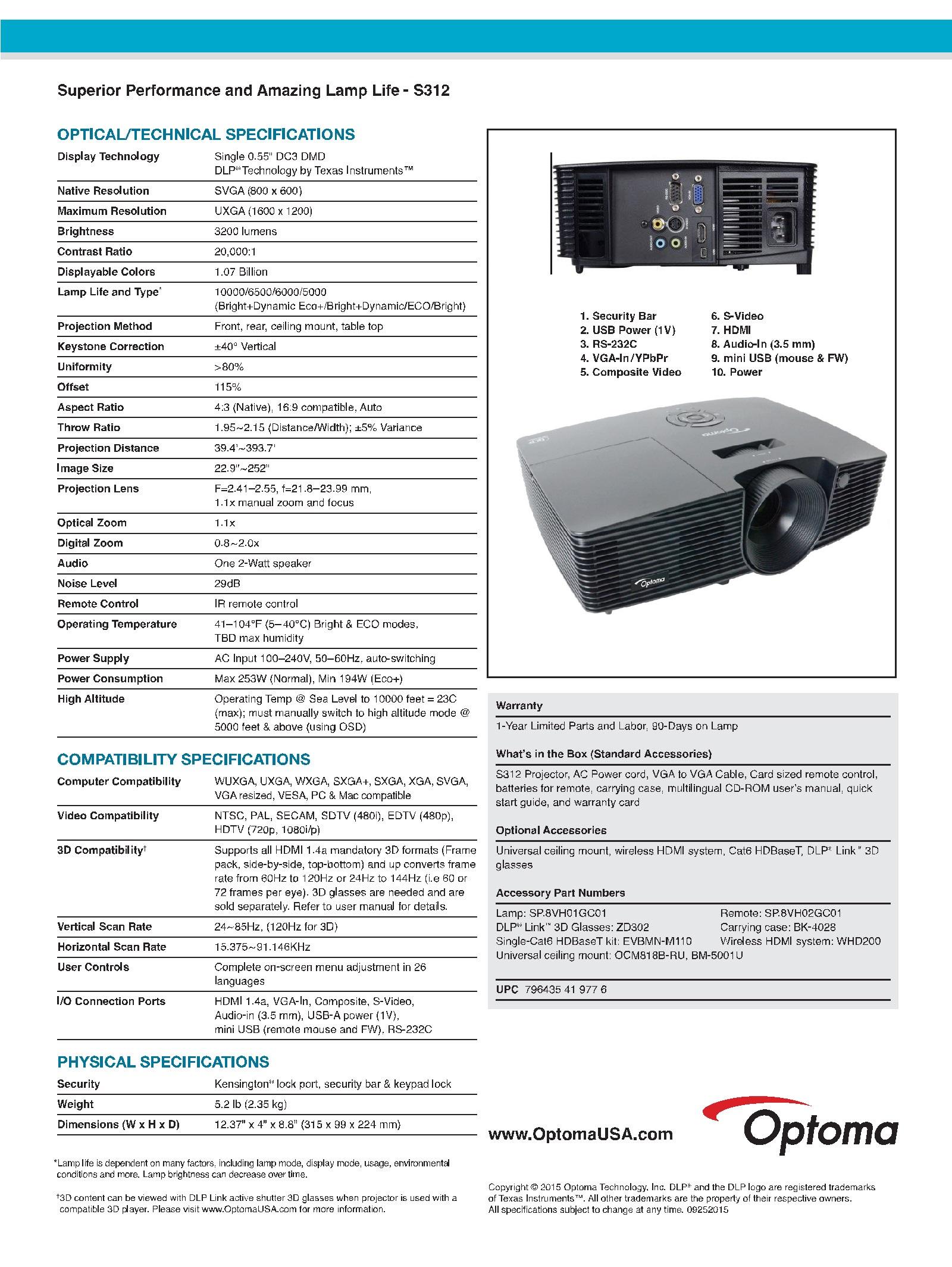 دیتا پروژکتور Optoma S312